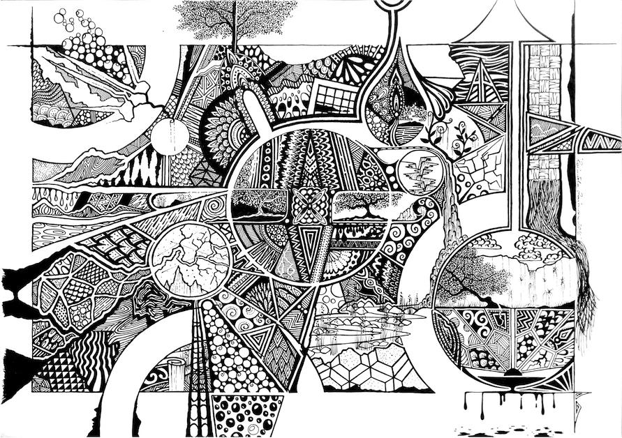 Black and white drawing by artist Roimata Taimana