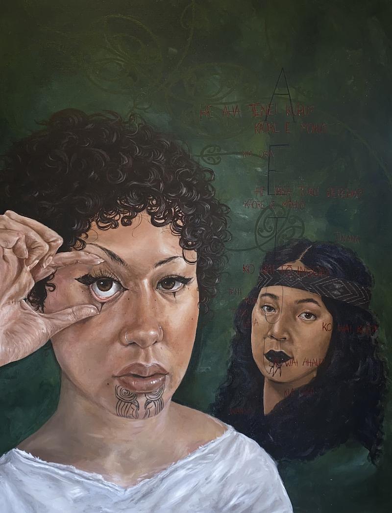 Painting of wahine by Hana Coleman
